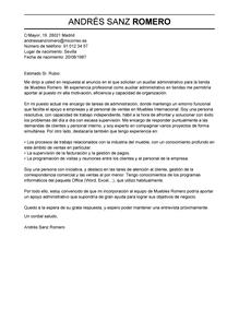 Modelo de Carta de Presentación de Auxiliar Administrativo