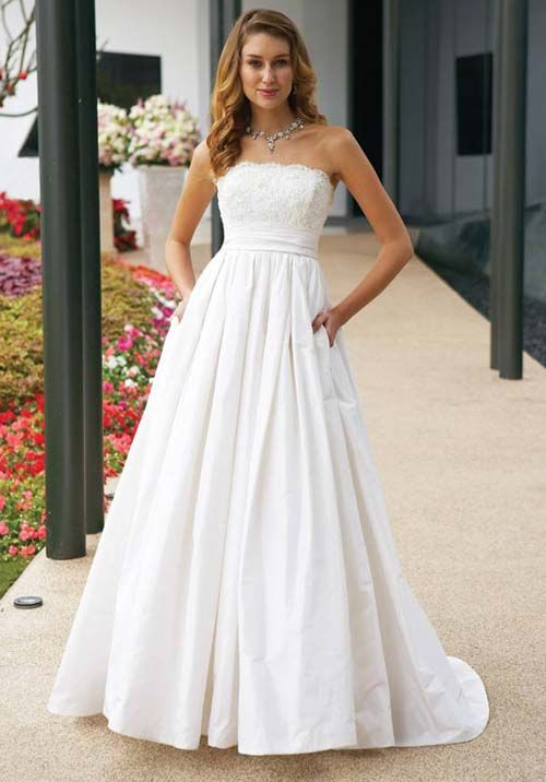Simple White Strapless Lace Wedding Dress With A Line Silhouette