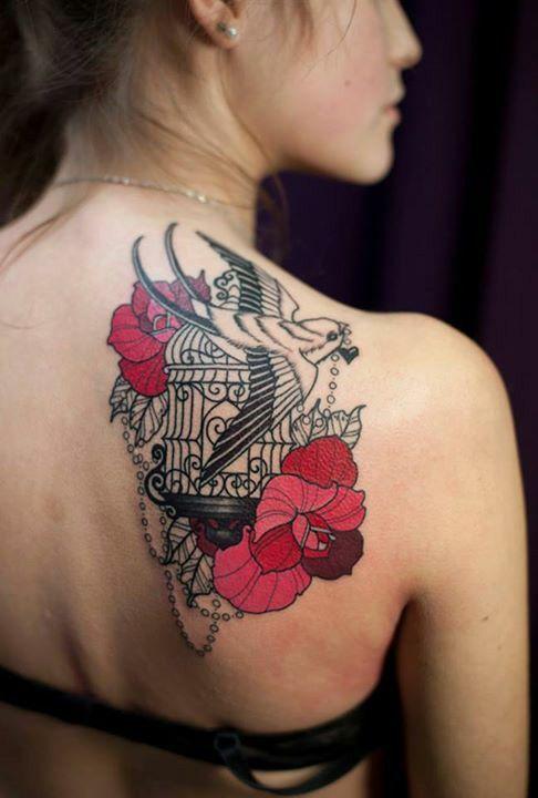 Bird Cage Tattoo Shoulder Tattoo Birdcage Tattoo Back Of Shoulder Tattoo