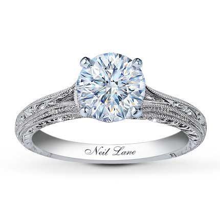 034 carat f i1 very good cut round diamond plus neil lane ring setting 1 engagement - Neil Lane Wedding Ring