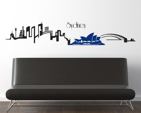 sydney skyline vinyl wall decalzapoart on etsy, $44.00 | skyline