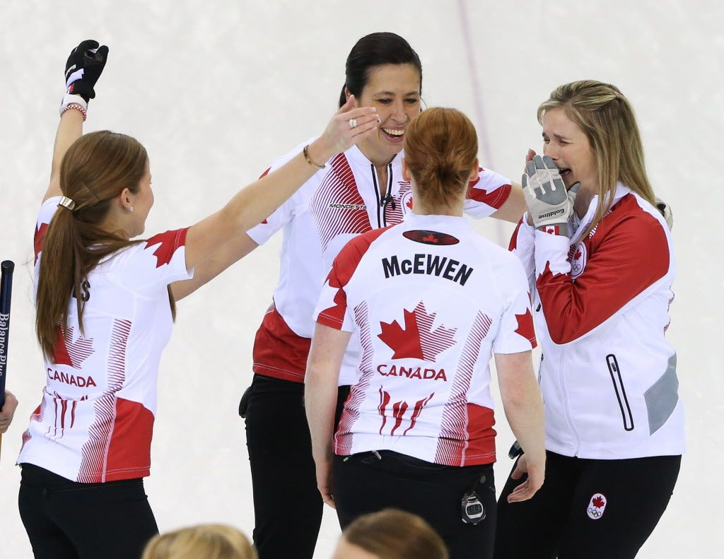Gold medal women's curling team Curling team, Women's
