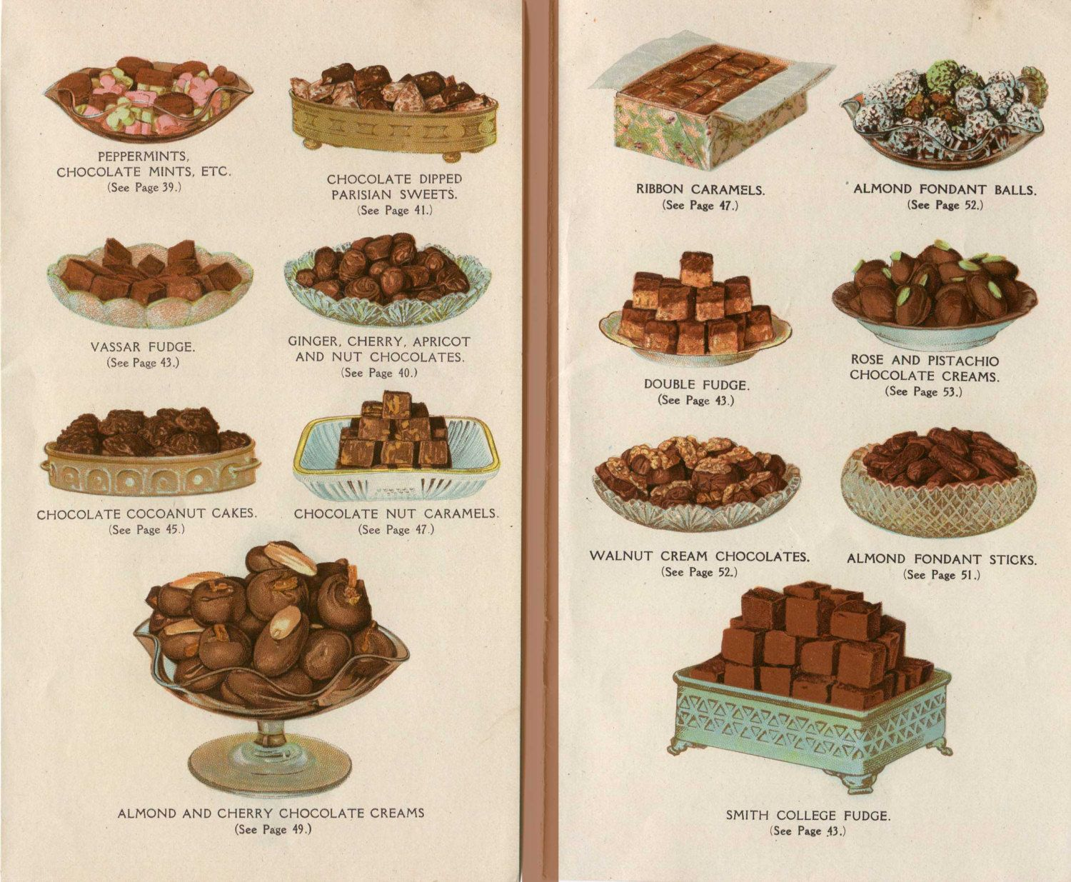 Pair of 1920's Vintage Chocolate Desserts Illustration Prints for