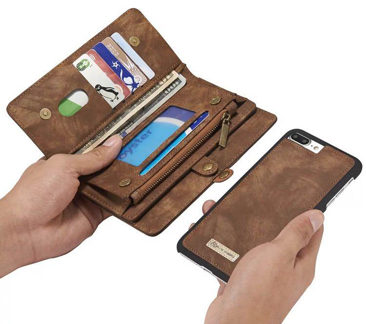 Caseme iphone 7 plus zipper wallet detachable 2 in 1 folio