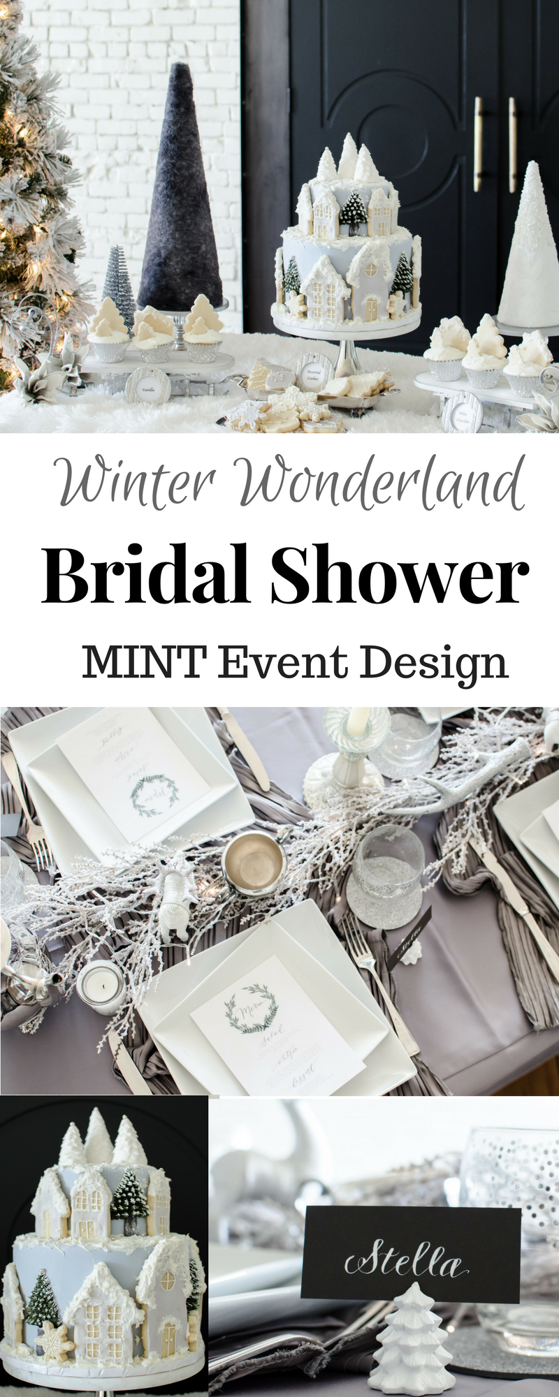 amazing winter wonderland bridal shower or any other party in the winter time lots of party decoration ideas desserts and a beautiful tablescape