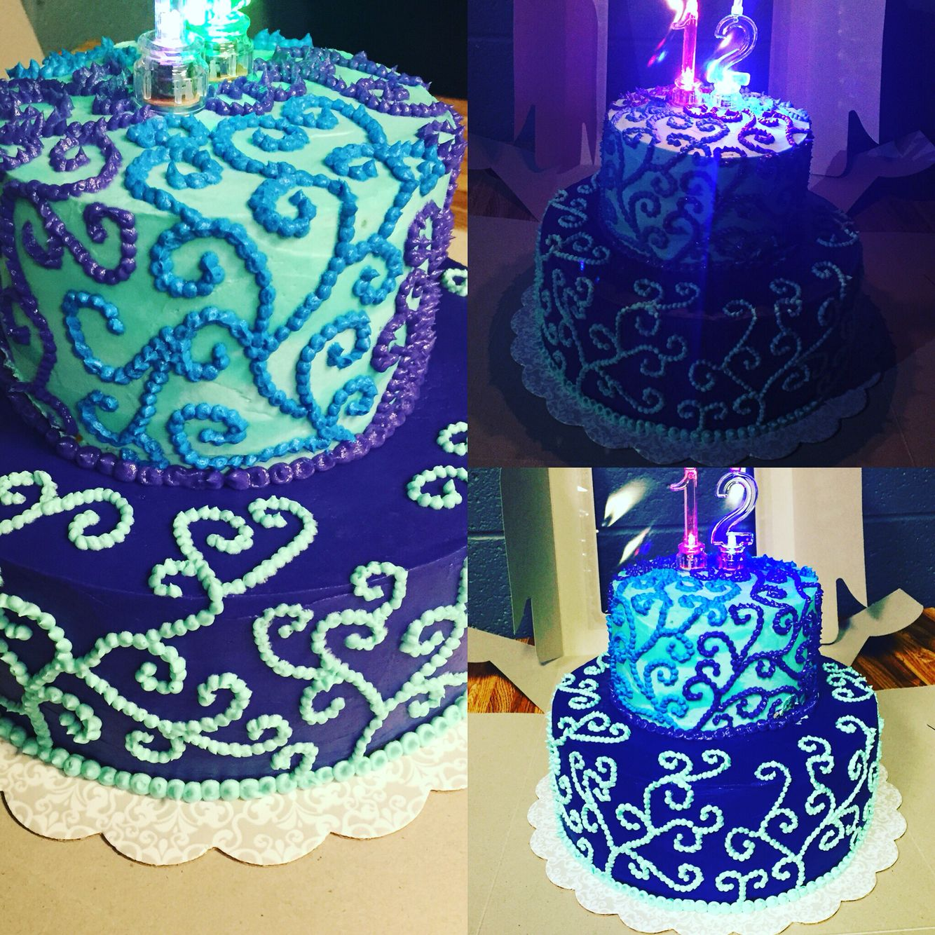 Two Layer, Two Tier Birthday Cake. All Free-hand, All