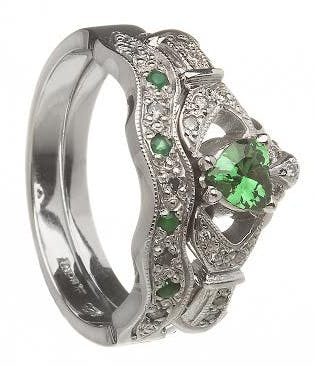 14k White Gold Emerald Claddagh Ring Wedding Band Bridal Set Emerald Wedding Rings Set Emerald Wedding Rings Claddagh Engagement Ring