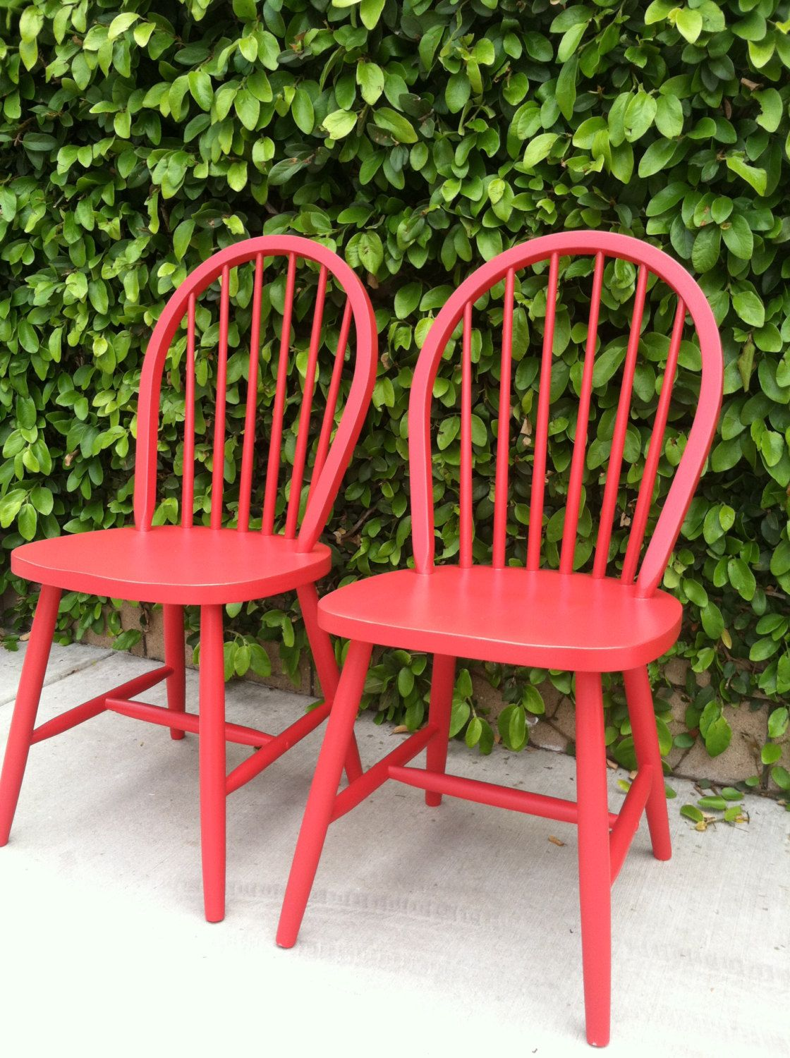 Set Of 2 Vintage Spindle Chairs, Painted Red, Wood