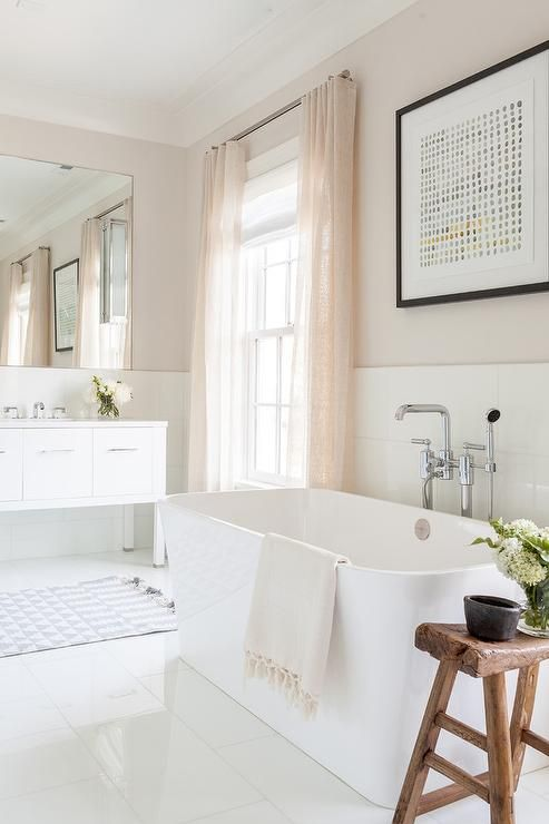 Romantic White And Pink Bathroom Is Equipped With A Rustic Saddle