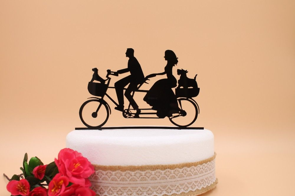 Acrylic Couple Tandem Bicycle Wedding Cake Topper - Wedding Look ...
