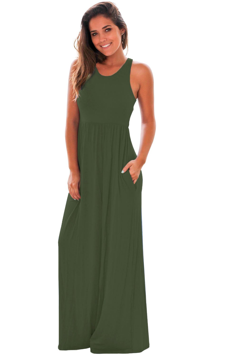 Chicloth Green Racerback Maxi Dress With Pockets Maxi Dress Maxi Dress Blue Pocket Maxi Dress [ 1500 x 1001 Pixel ]