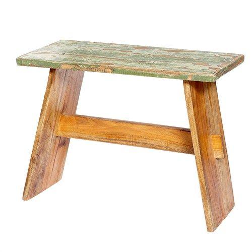 Banco de madera reciclada con el asiento pintado de verde - Bancos de madera rusticos ...
