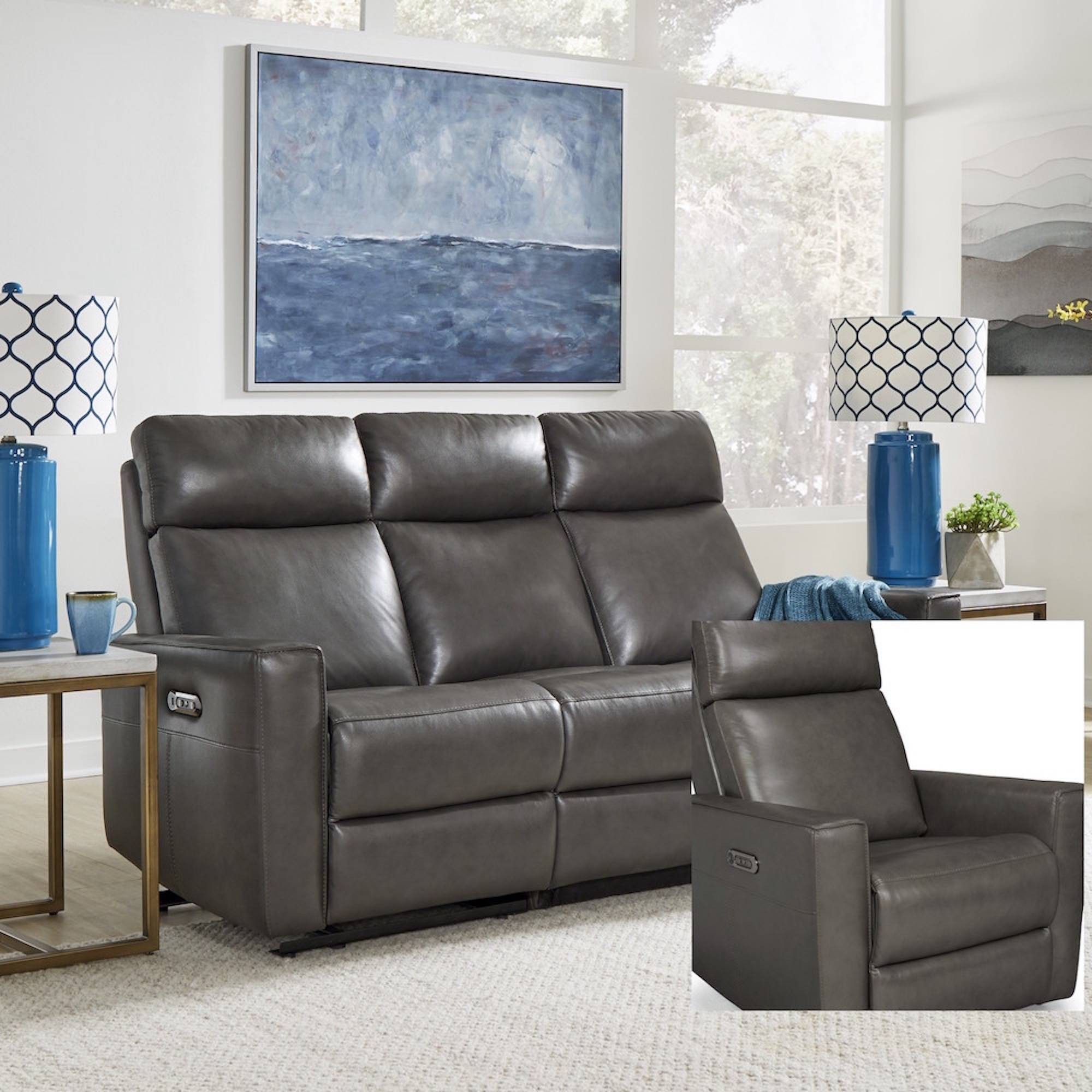 Nuovo Leather Power Motion Reclining Sofa Gray Home Styles Home