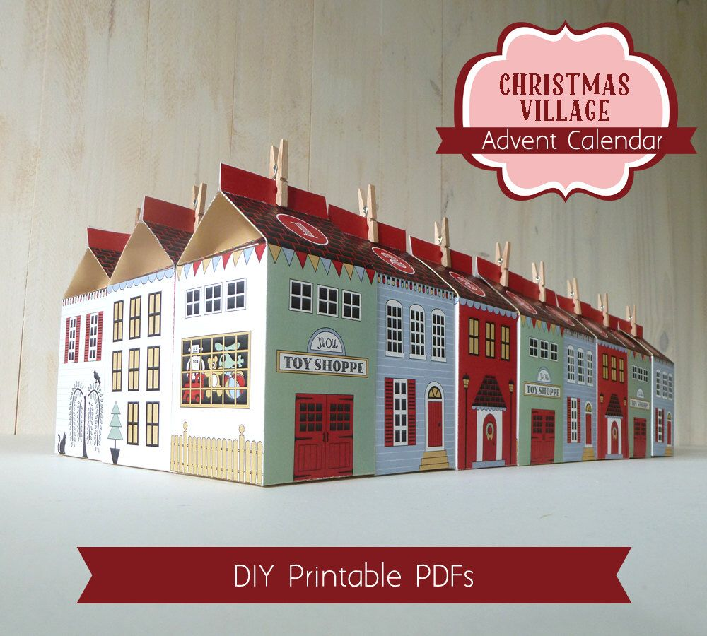Advent Calendar Boxes, Printable Christmas Village, Countdown to Christmas,  DIY Advent Calendar by