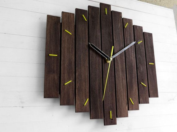 Big Romb Bicolor wooden wall clock yellow contemporary wall | Pallet ...