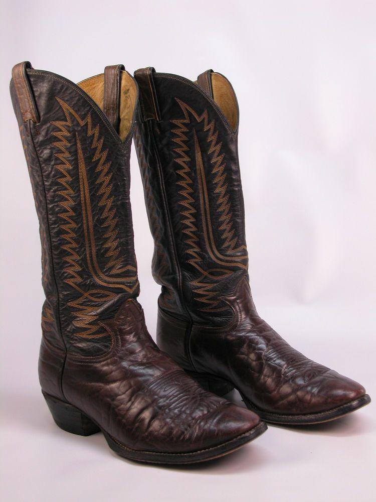 Tony Lamas Boots Leather Black Lizard White Blue Embroidery Size 9.5 EUC