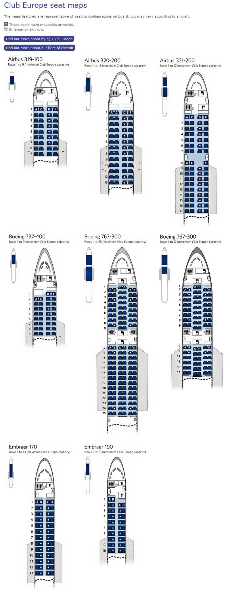 BRITISH AIRWAYS CLUB EUROPE SEATING CHARTS