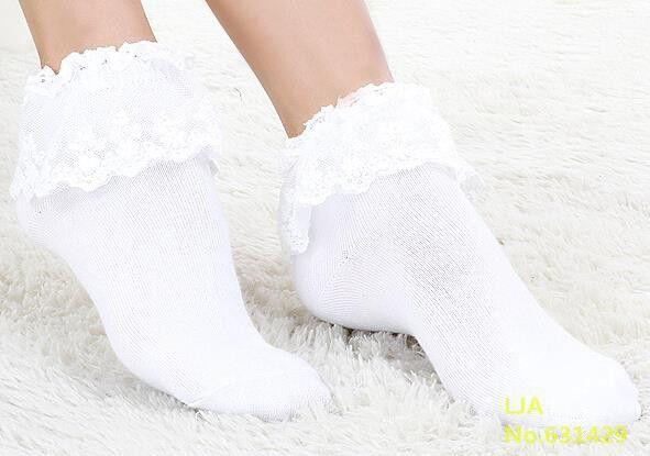 Kawaii Women Ladies Retro Cute Lace Ruffle Frilly Ankle Sock Cotton Socks  FO