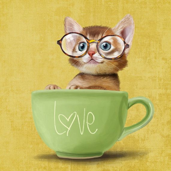 A funny kitten in a big cup on yellow background by SparaFuori
