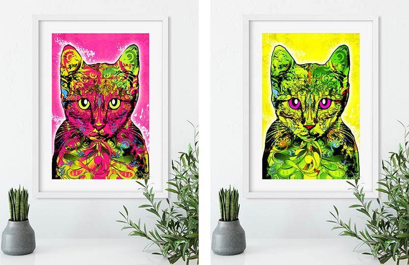 Pop Art Katze - Leinwandbild in rot, Pink, blau und gelb - einrichtung stil pop art