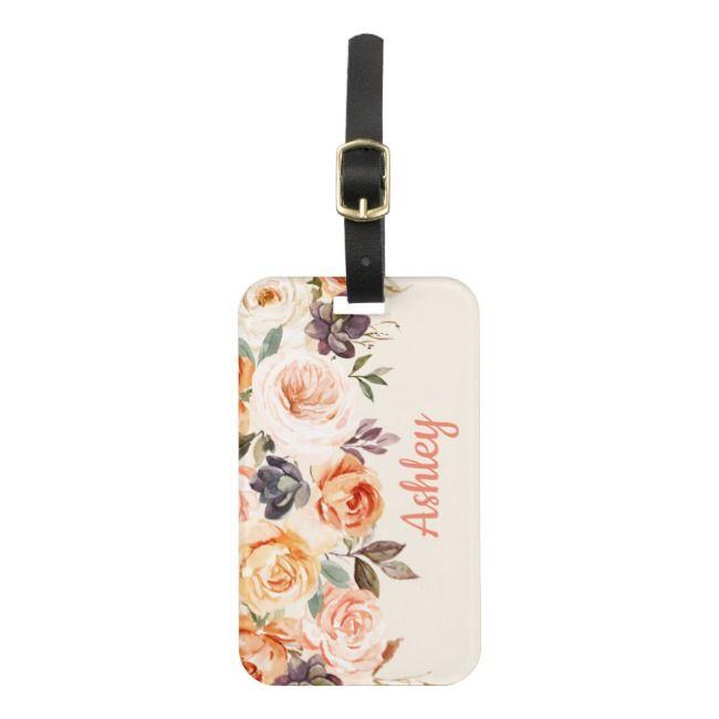 Shabby Chic Peach Floral Luggage Tag