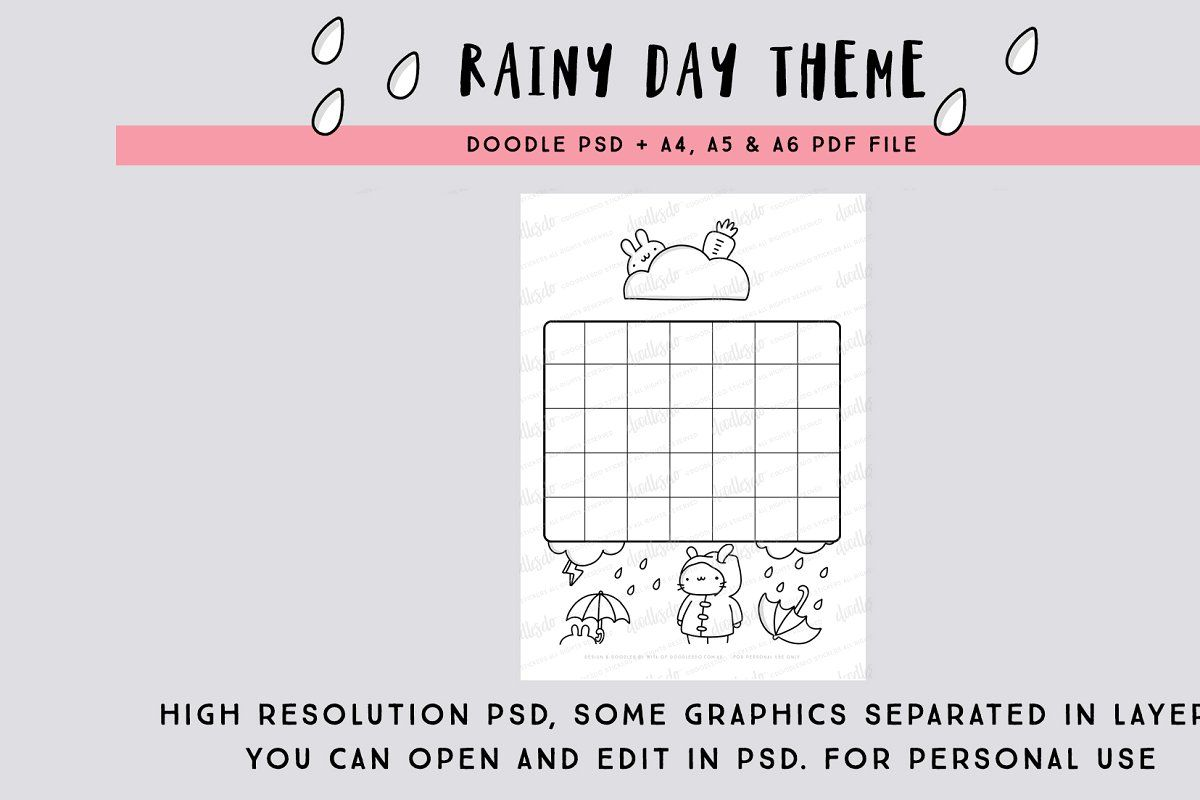 Rainy Day Blank Calendar Psd In