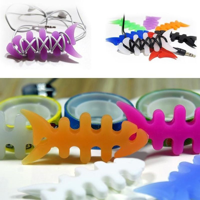 5pcs Fish Bone Silicone Earbud Earphone Cord Cables Wrap Winder Wire ...