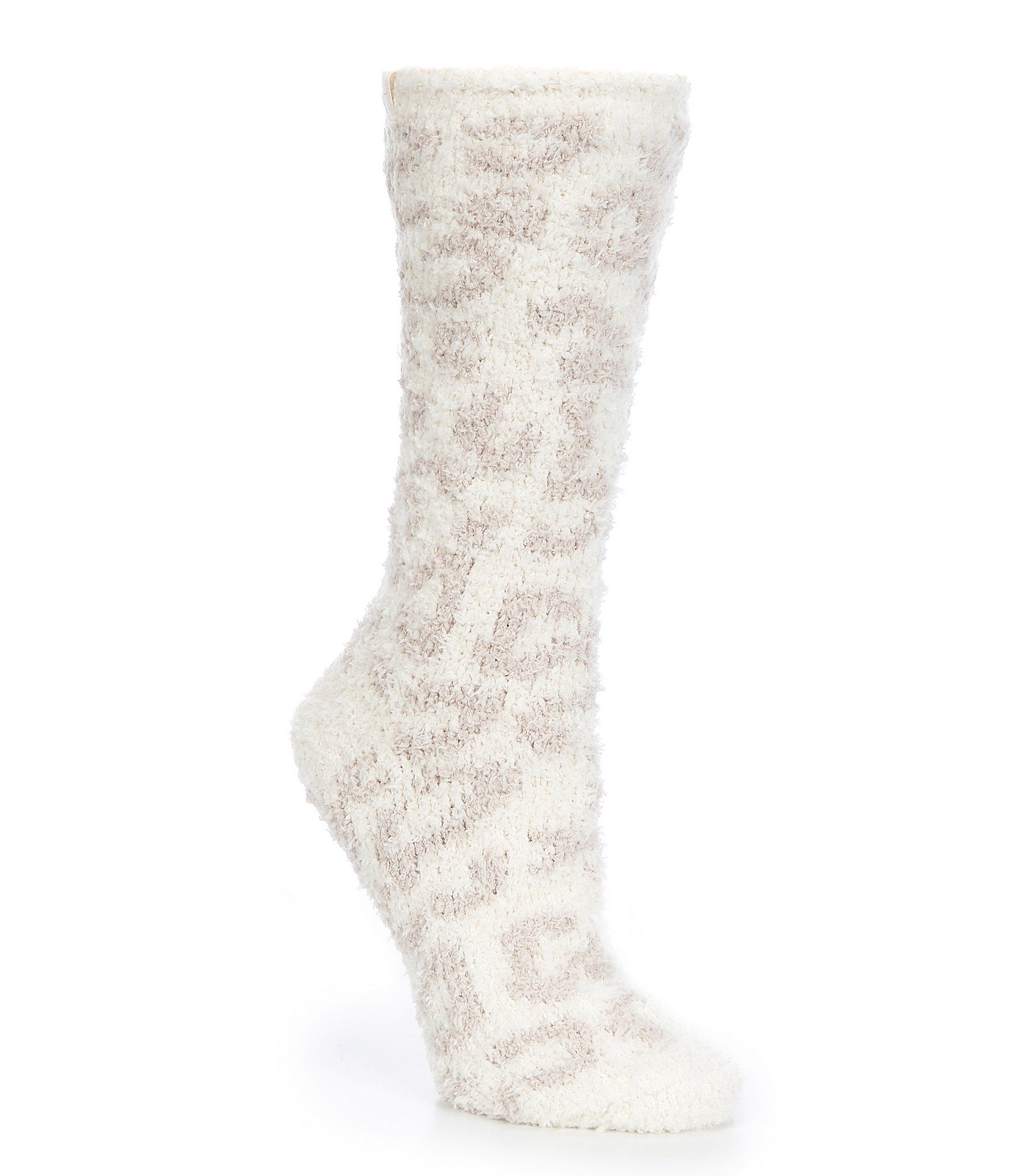 From Barefoot Dreams, these socks feature:Super soft plush microfiber socksJacquard animal printAnkle lengthPolyester/spandexMachine wash/tumble dry lowImported.