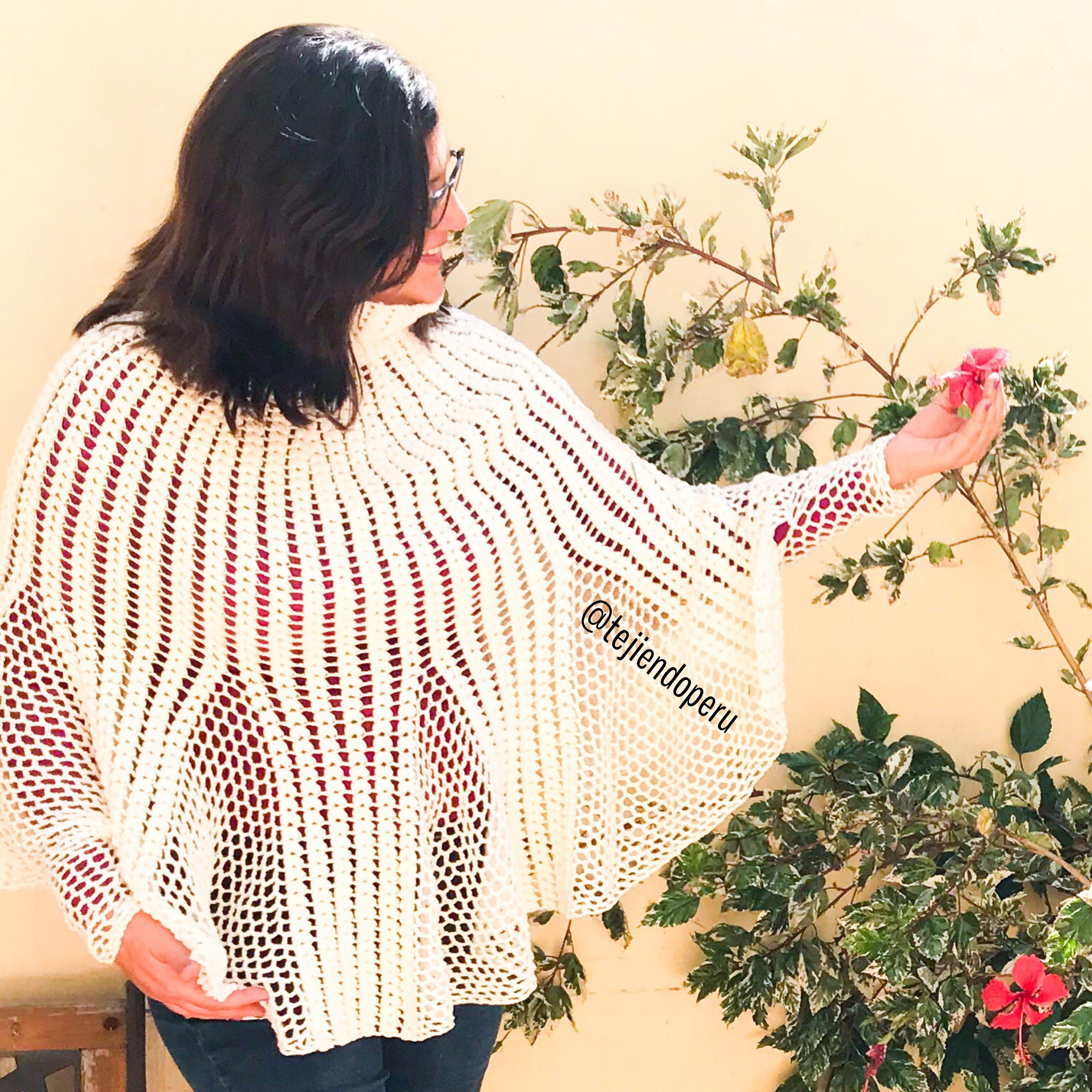 Poncho Con Mangas Y Cuello Alto Modelo Tulipán Tejido A Crochet Vídeo Tutorial Del Paso A Paso Poncho Con Mangas Croché Ganchillo
