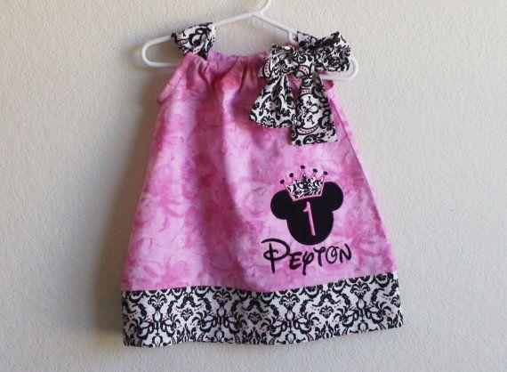 Minnie Mouse Princess Dress en rosa y Damasco (juego bolsa disponible)-cumpleaños personalizada, lindo vestido