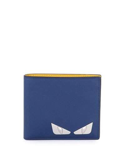 FENDI Monster Eyes Leather Bi-Fold Wallet