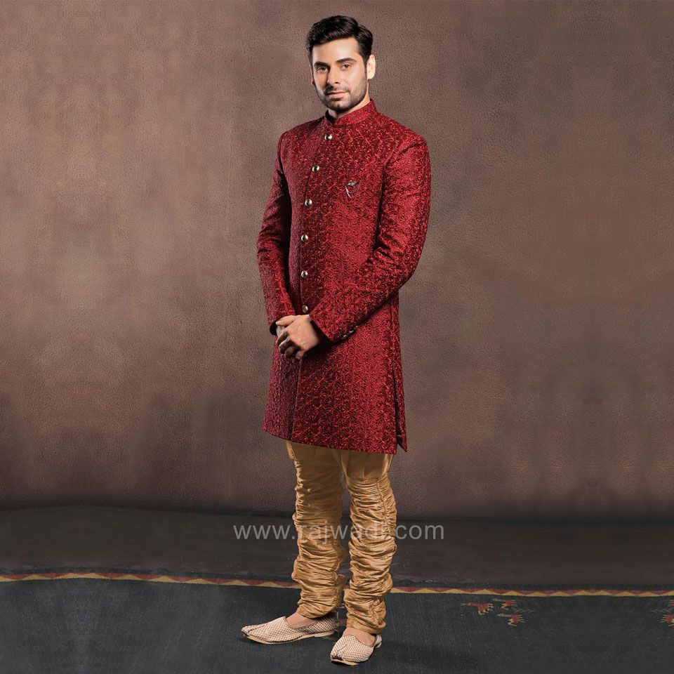 Maroon color emboss fabric indo western rajwadi indowestern