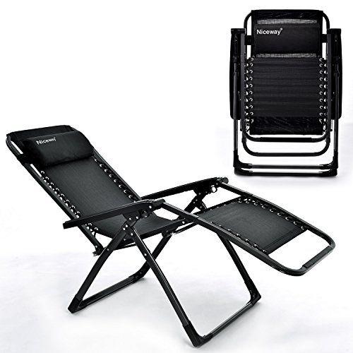 Folding Chair Niceway Foldable Zero Gravity Chair Reinforcement