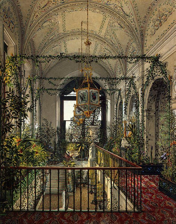 Interiors of the Winter Palace  The Small Winter Garden of Empress Alexandra Fyodorovna  Konstantin Andreyevich Ukhtomsky is part of Winter garden Drawing - Author Konstantin Andreyevich Ukhtomsky  Interiors, Drawings, Watercolour, 24 6x19 5 cm  Origin Russia, 1870s  Personage Empress Alexandra Fiodorovna  Source of entry from the artist, 1870s  Theme Architecture