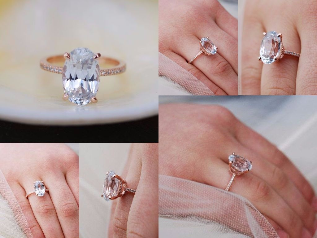 Blake Lively engagement ring. White Sapphire Engagement Ring Oval ...