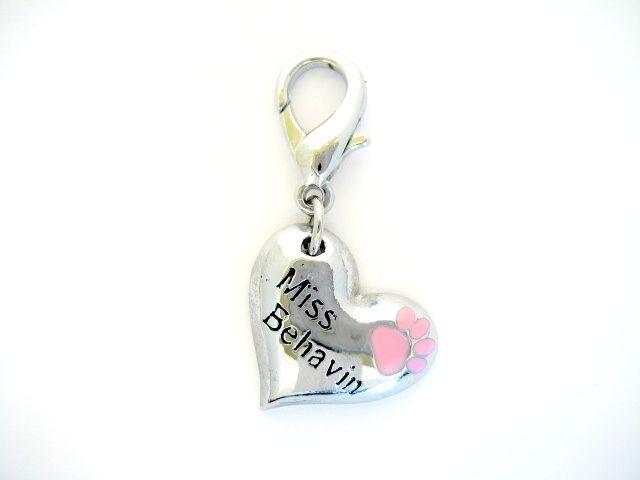 """Miss Behavin"" Collar Charm by JewelryGirlPets"