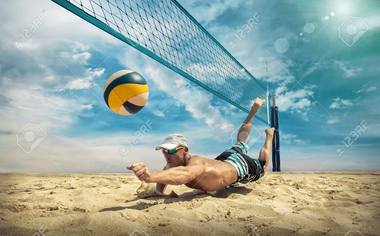 Beach Volleyball Player In Action At Sunny Day Under Blue Sky Stock Photo Affiliate Action Sunny Player B Beach Volleyball Volleyball Players Photo