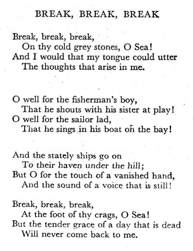 Break Break Break Cool Words Tennyson Poems Poems