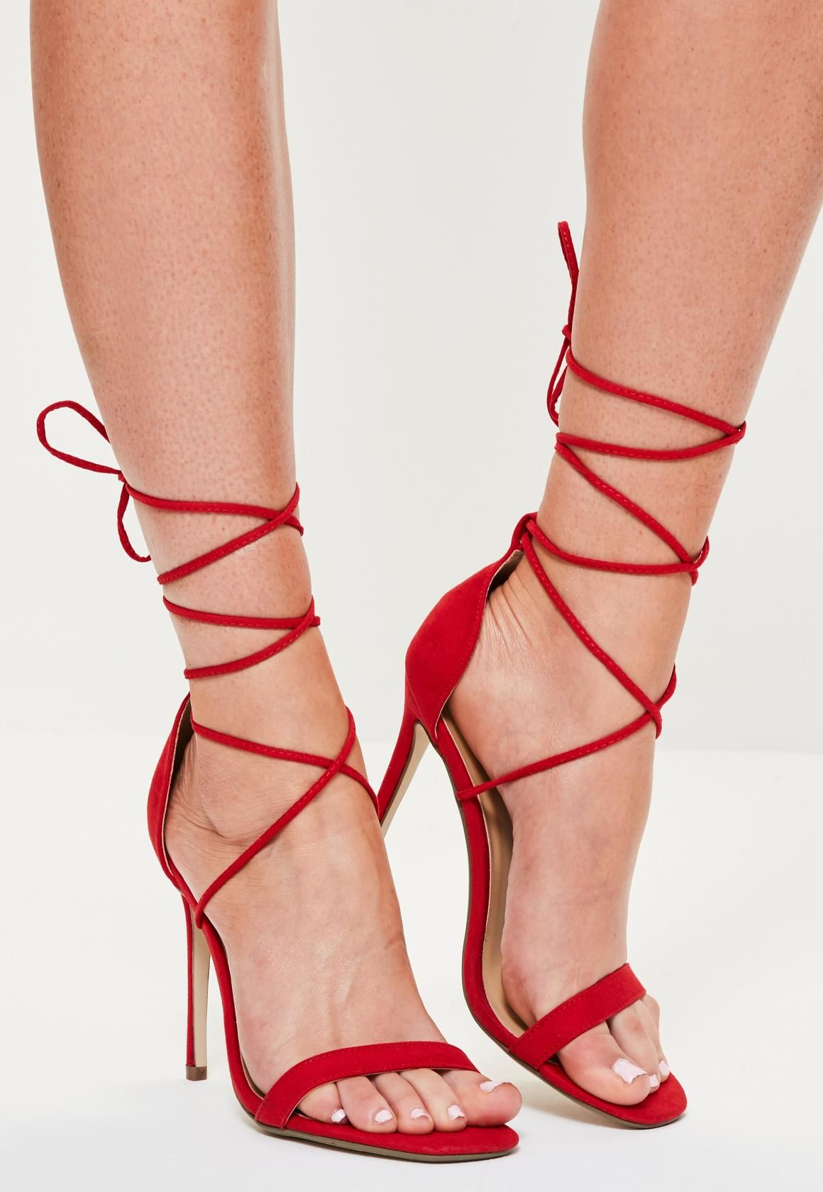 Lace Up Barely There Heeled Sandals Red - Shoes - High Heels ...