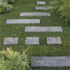 Pave Stonewood En Beton Imitation Bois L 22 5 X L 22 5 Cm Ep 50 Mm Traverses Jardin Pierre Reconstituee Pas Japonais