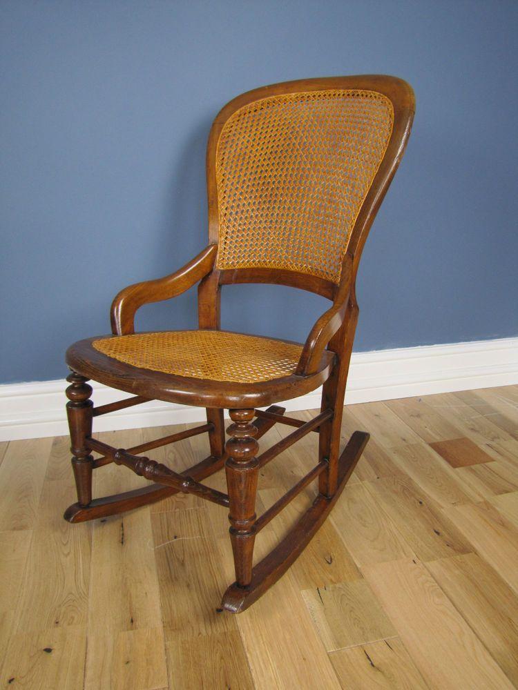 victorian bergere cane rocking chair nursing chair new. Black Bedroom Furniture Sets. Home Design Ideas