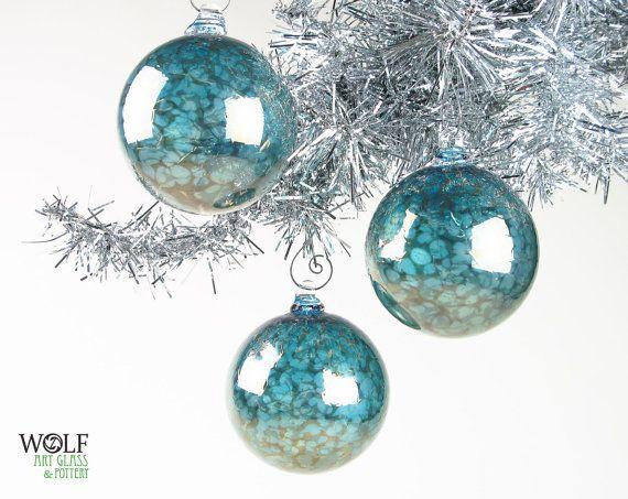 Blown Glass Ornament Suncatcher Christmas Tree Ornament Mirror - blue and silver christmas decorationschristmas tree decorations