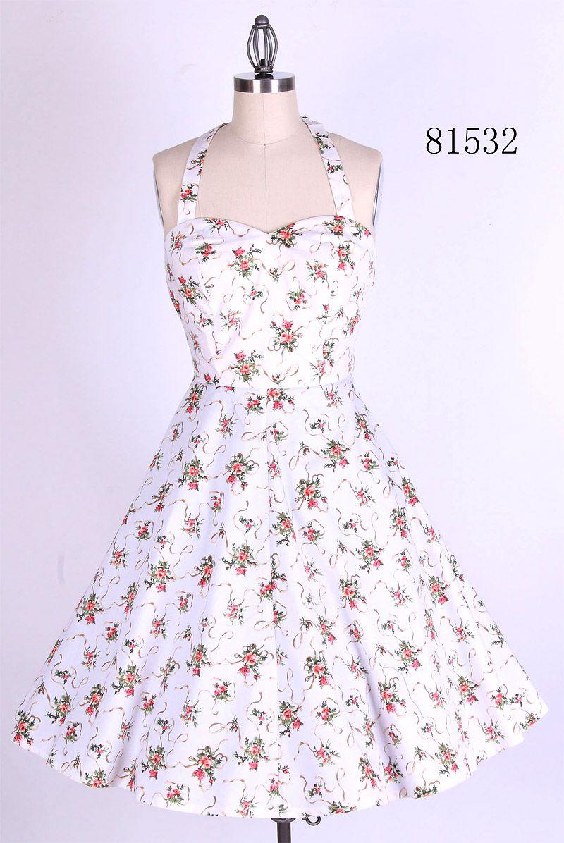 S retro floral halterneck swing prom dress