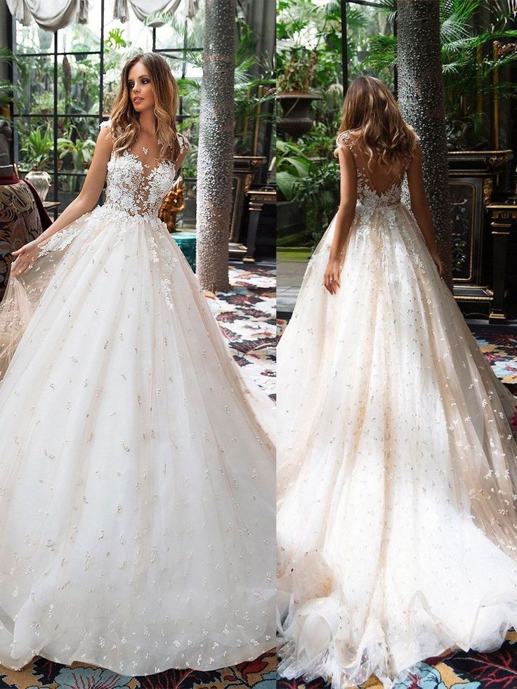 Vintage Princess Wedding Dresses A Line Beaded Lace Applique Modest Wedding Dres #spitzeapplique