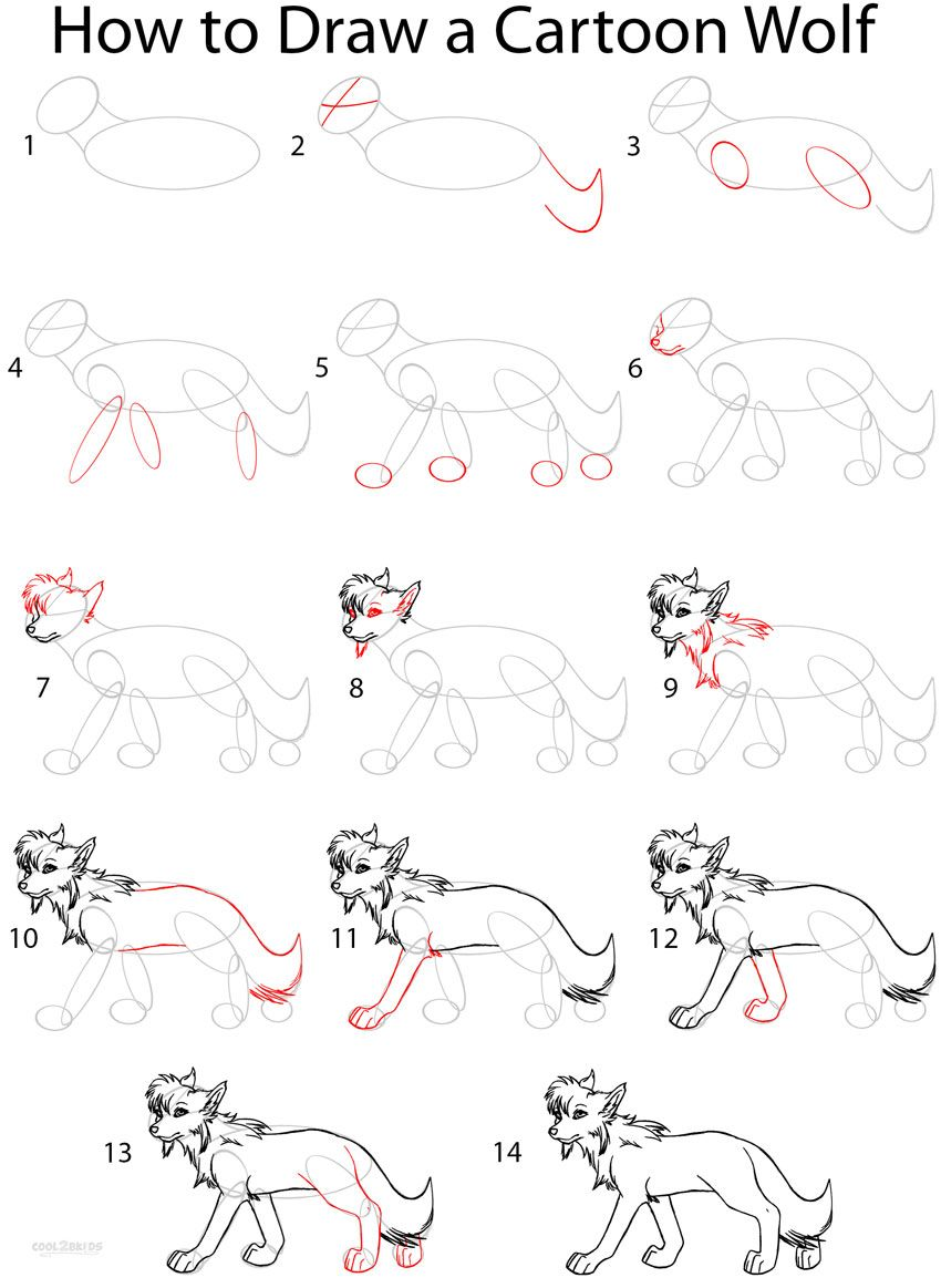 How To Draw A Cartoon Wolf Step By Step Drawing Tutorial With Pictures Cool2bkids Cartoon Wolf Drawing For Beginners Drawing Tutorial