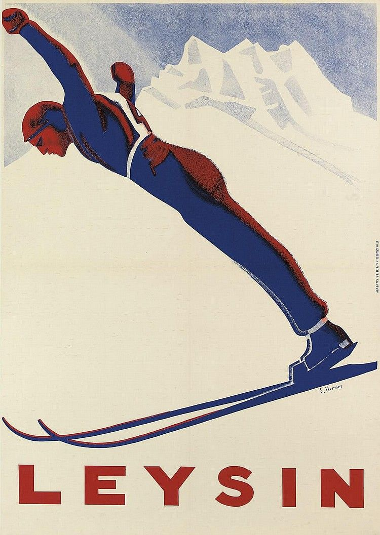 Leysin 1930's (Erich Hermes) Ski vintage, Affiche