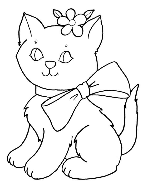 Cute Cat Kitty Coloring Cat Coloring Page Easy Coloring Pages