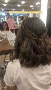 120+ süße Frisuren für Mädchen mit kurzen Haaren 26 ~ Modern House Design – #Cute …
