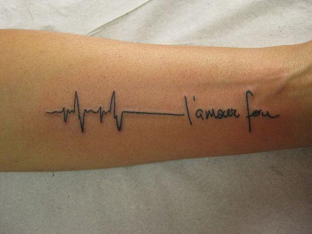 204dbdd00 'Crazy Love' Tattoo ECG tatuagem L'amour Fou by micaeltattoo, via Flickr