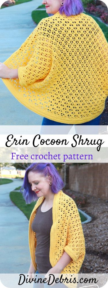 Erin Cocoon Shrug free crochet pattern by DivineDebris.com